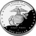 2005 Marine Corps Proof Silver Dollar Reverse Coin